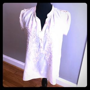 Banana Republic Sheer Embroidered Shirt in Cream